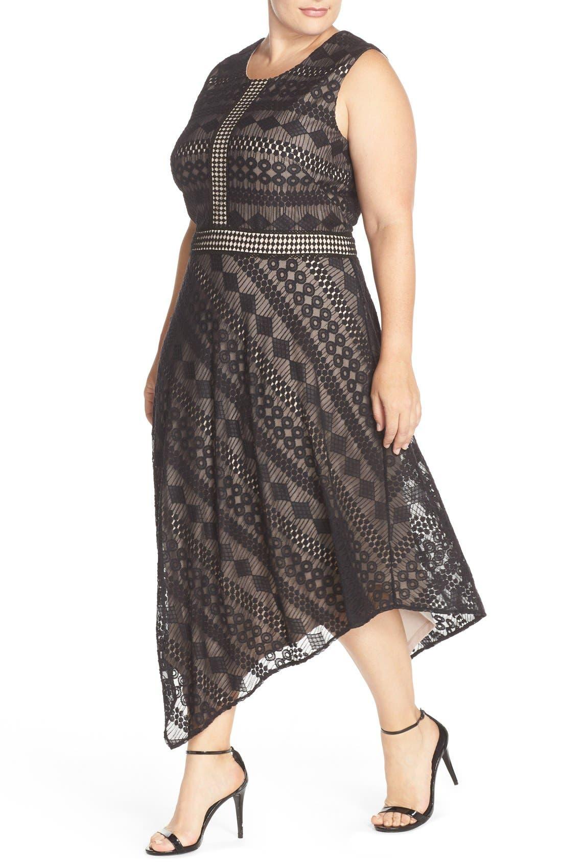 Alternate Image 4  - London Times Geo Stripe Lace Asymmetrical Hem Dress (Plus Size)
