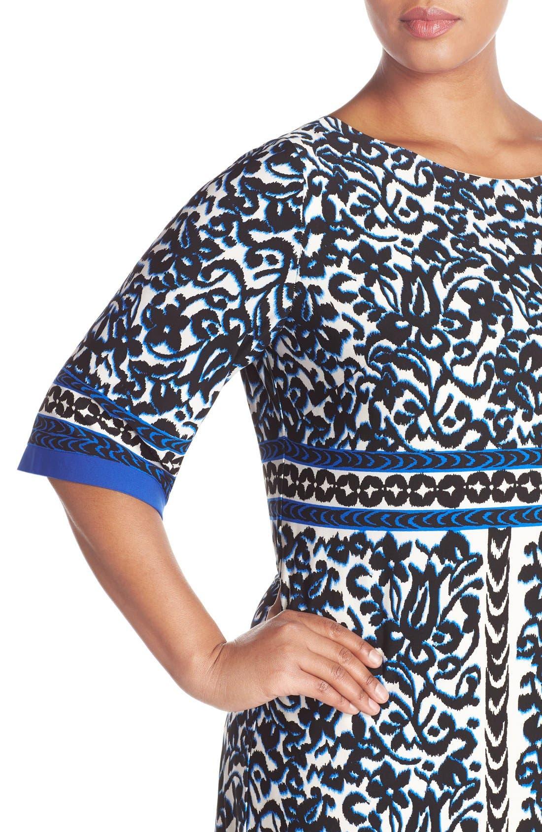 Alternate Image 4  - Eliza J Border Print Elbow Sleeve Shift Dress (Plus Size)