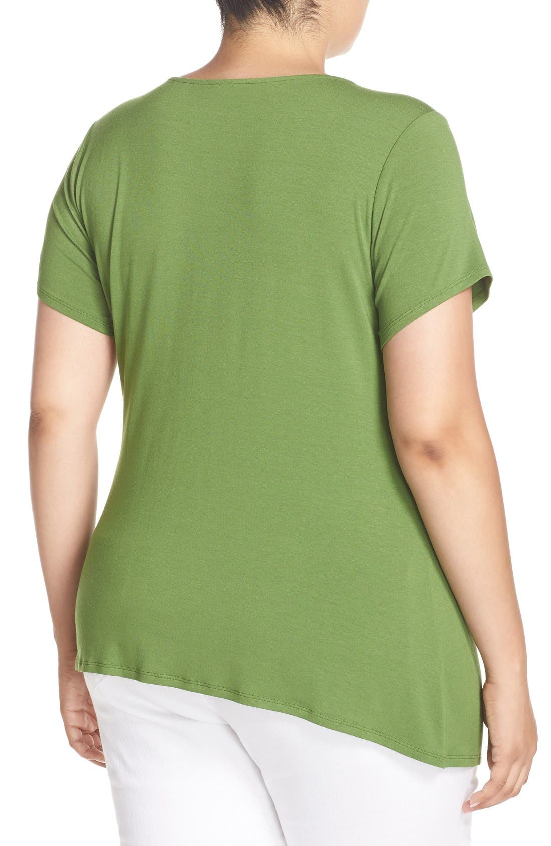 Alternate Image 2  - Vince Camuto Short Sleeve Side Pleat Asymmetrical Top (Plus Size)