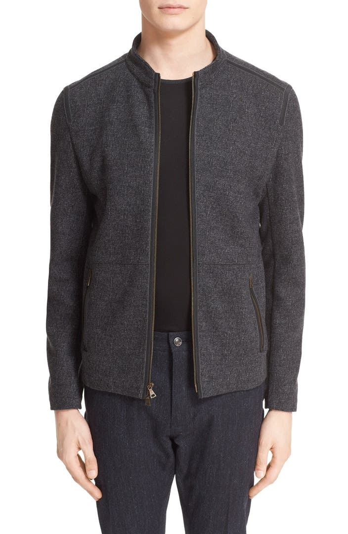 John varvatos collection zip front knit jacket nordstrom for Housse zip collection captur
