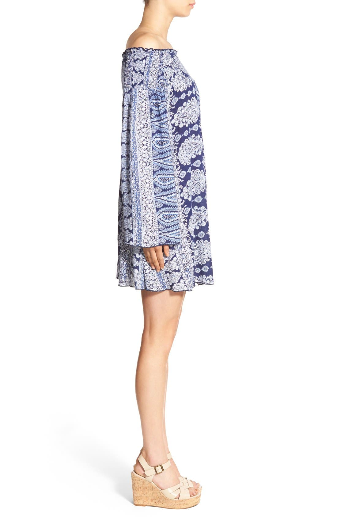 Alternate Image 3  - Band of Gypsies Paisley Off the Shoulder Shift Dress