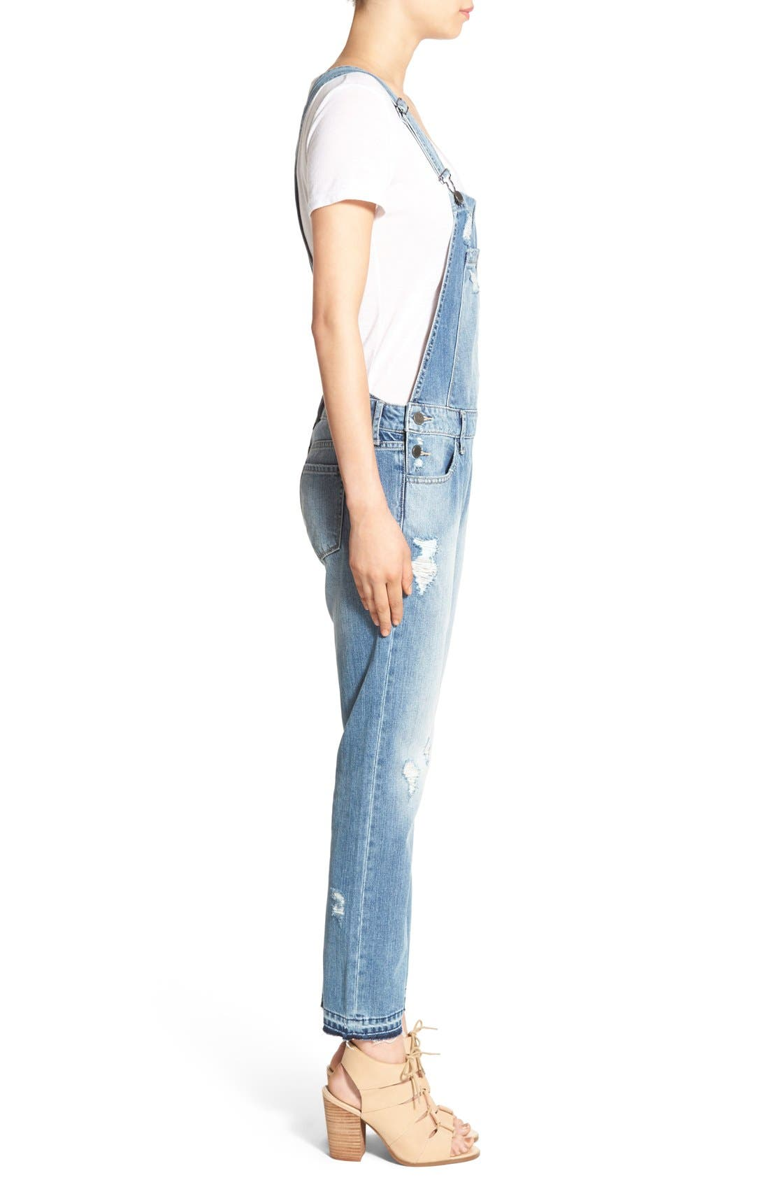 Alternate Image 3  - Articles of Society Distressed Denim Overalls