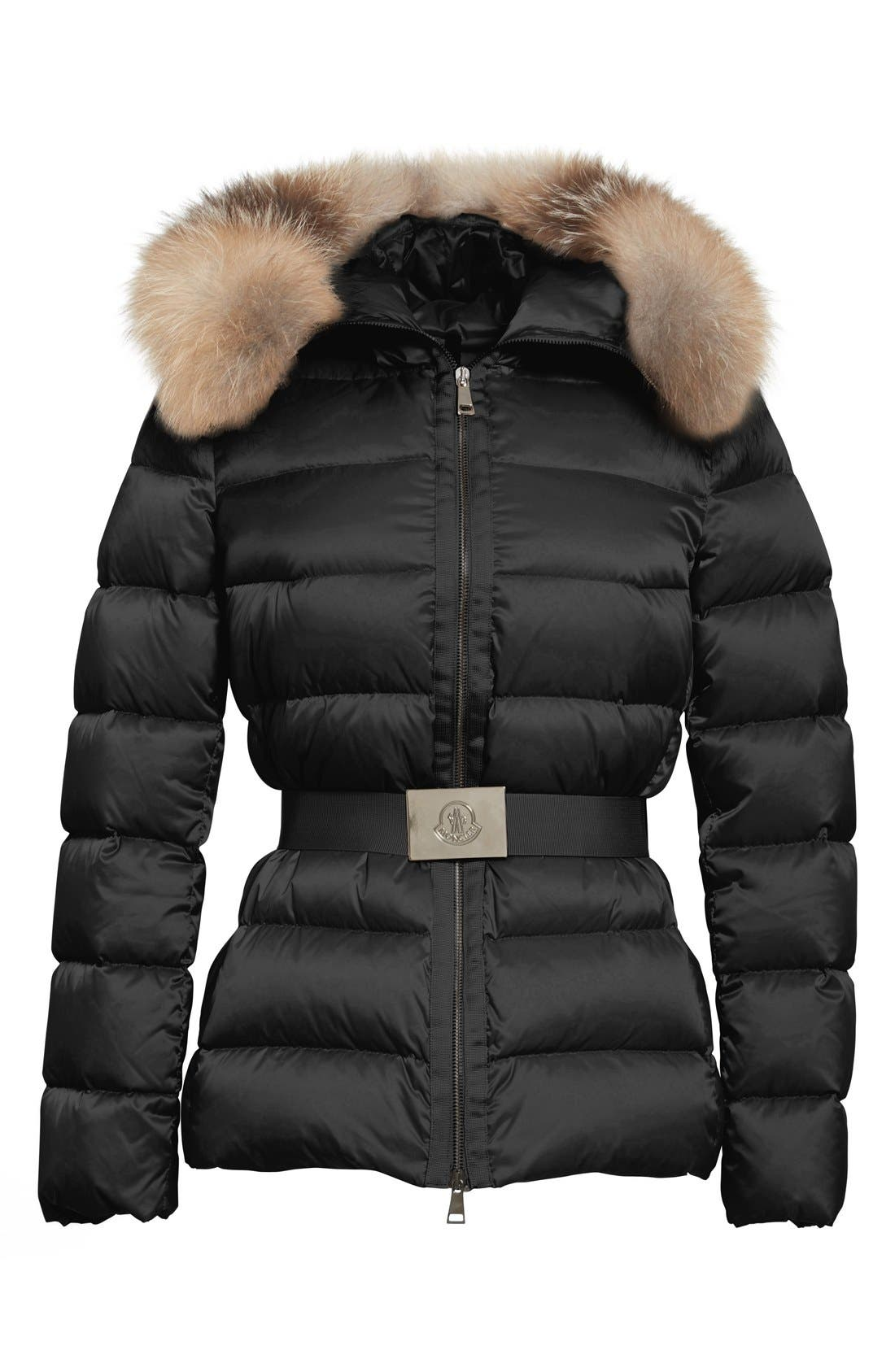 Alternate Image 3  - Moncler 'Tatie' Belted Down Puffer Coat with Removable Genuine Fox Fur Trim
