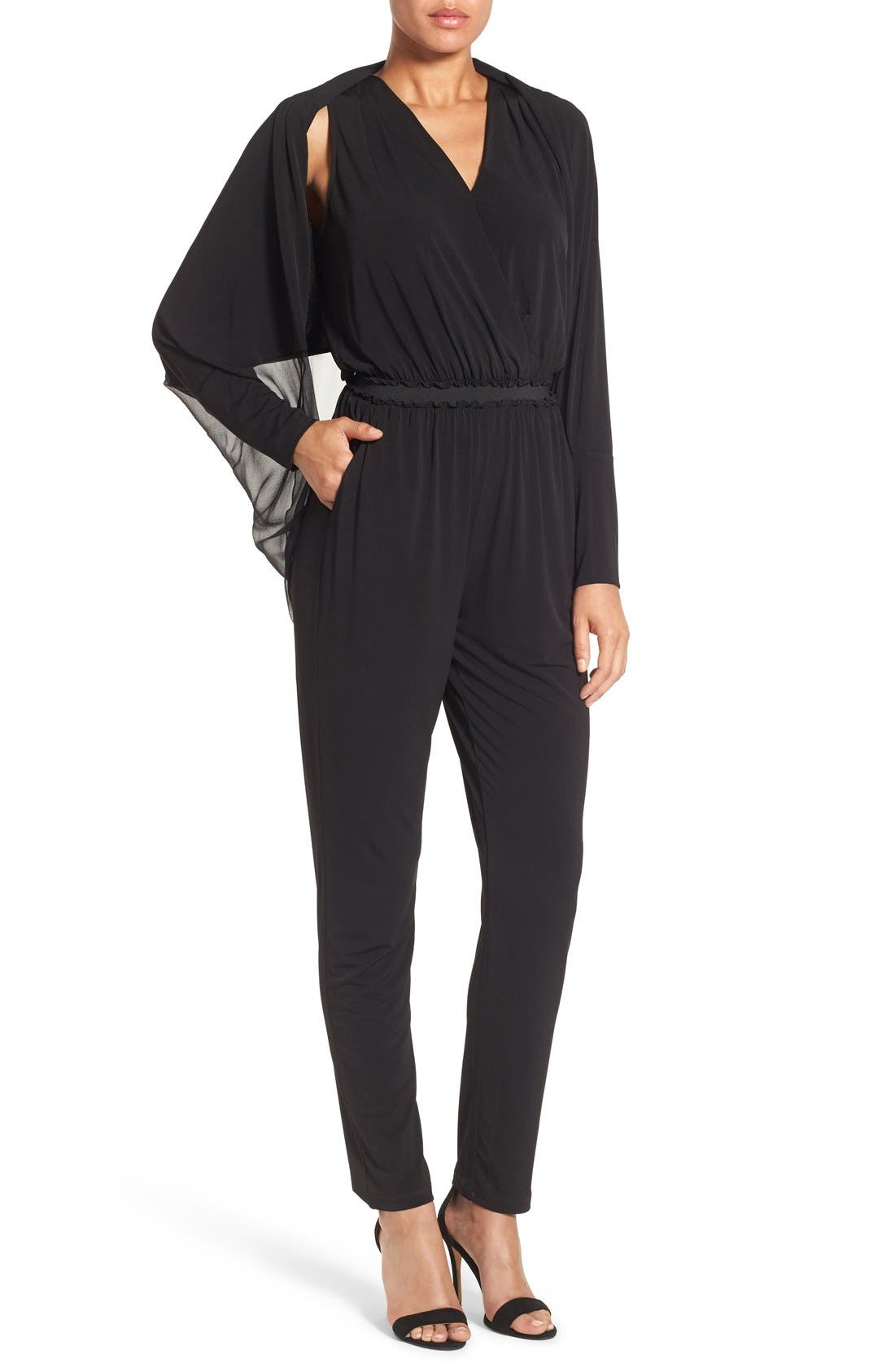 KOBI HALPERIN 'Yasmin' Shrug Draped V-Neck Jumpsuit