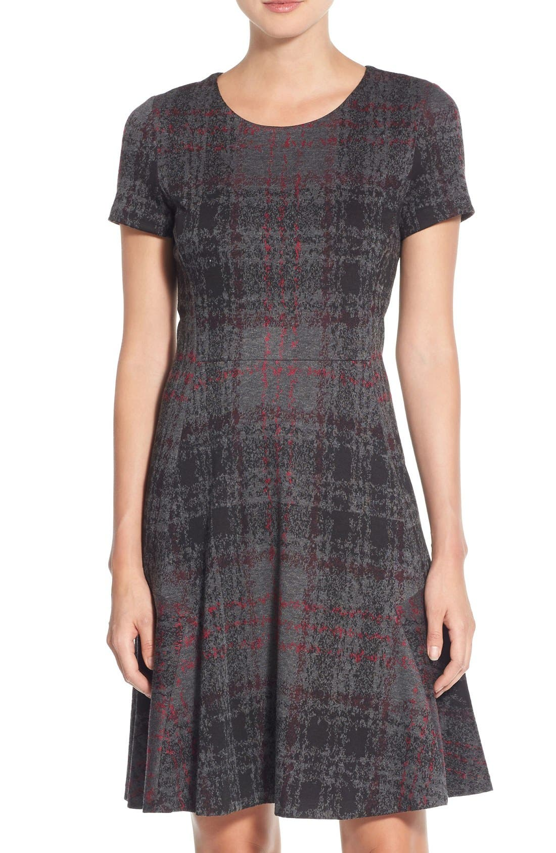 Alternate Image 1 Selected - Betsey Johnson Print Ponte Fit & Flare Dress