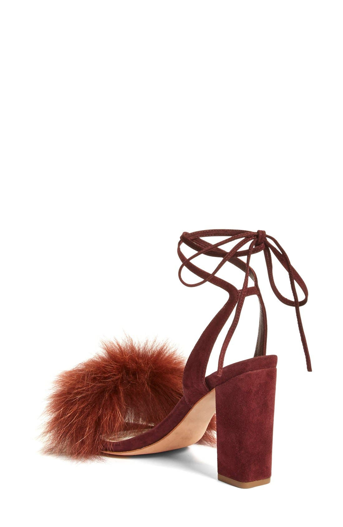 Alternate Image 2  - Loeffler Randall 'Nicolette' Genuine Fox Fur Trim Sandal (Women)