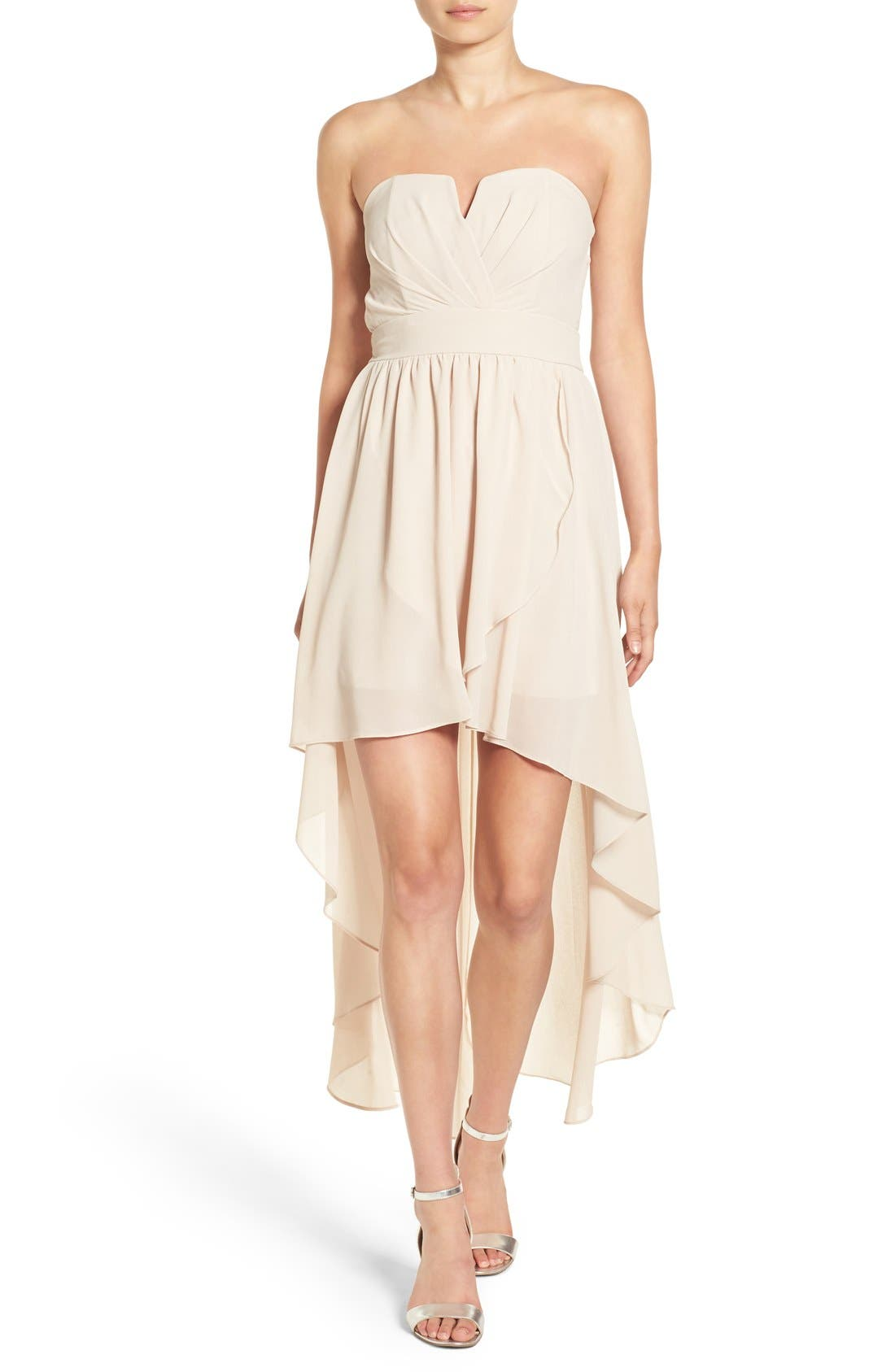 Alternate Image 1 Selected - TFNC 'Thalia' Strapless High/Low Dress