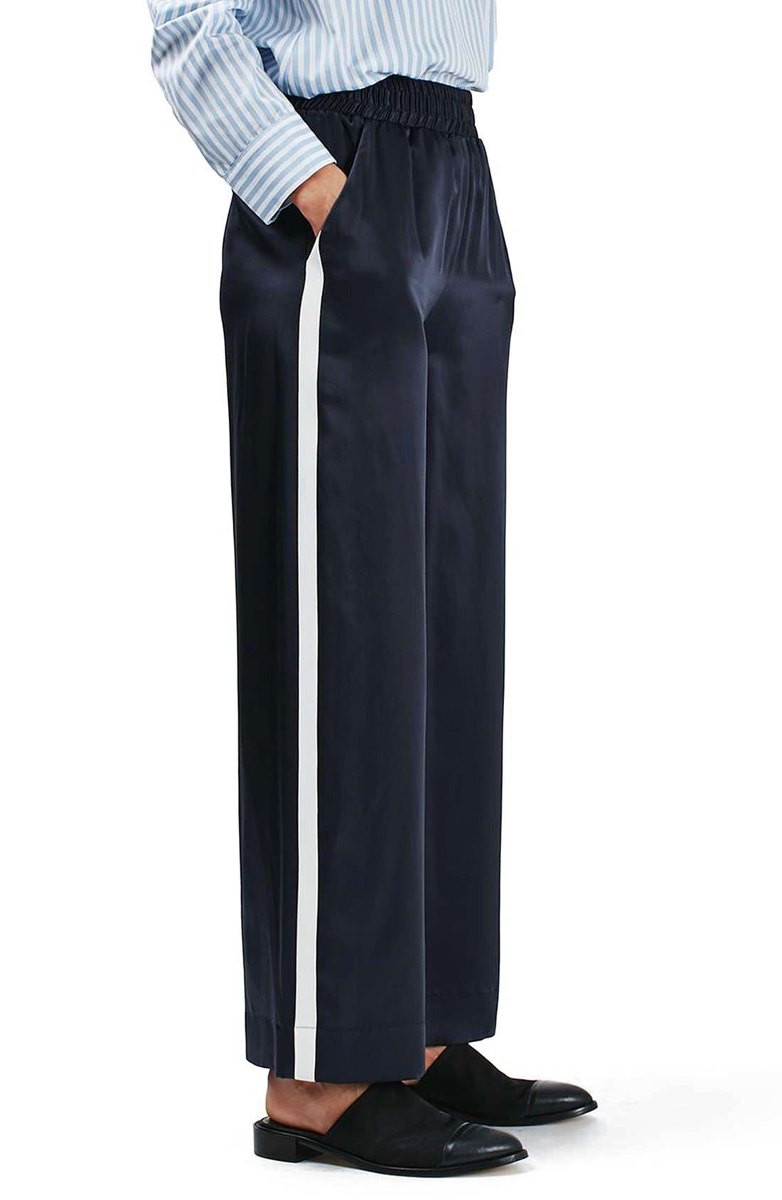 Alternate Image 3  - Topshop Boutique Stripe Wide Leg Silk Pants