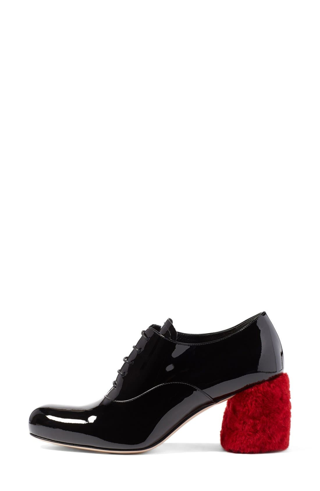 Alternate Image 4  - Miu Miu Genuine Shearling Block Heel Oxford Pump (Women)