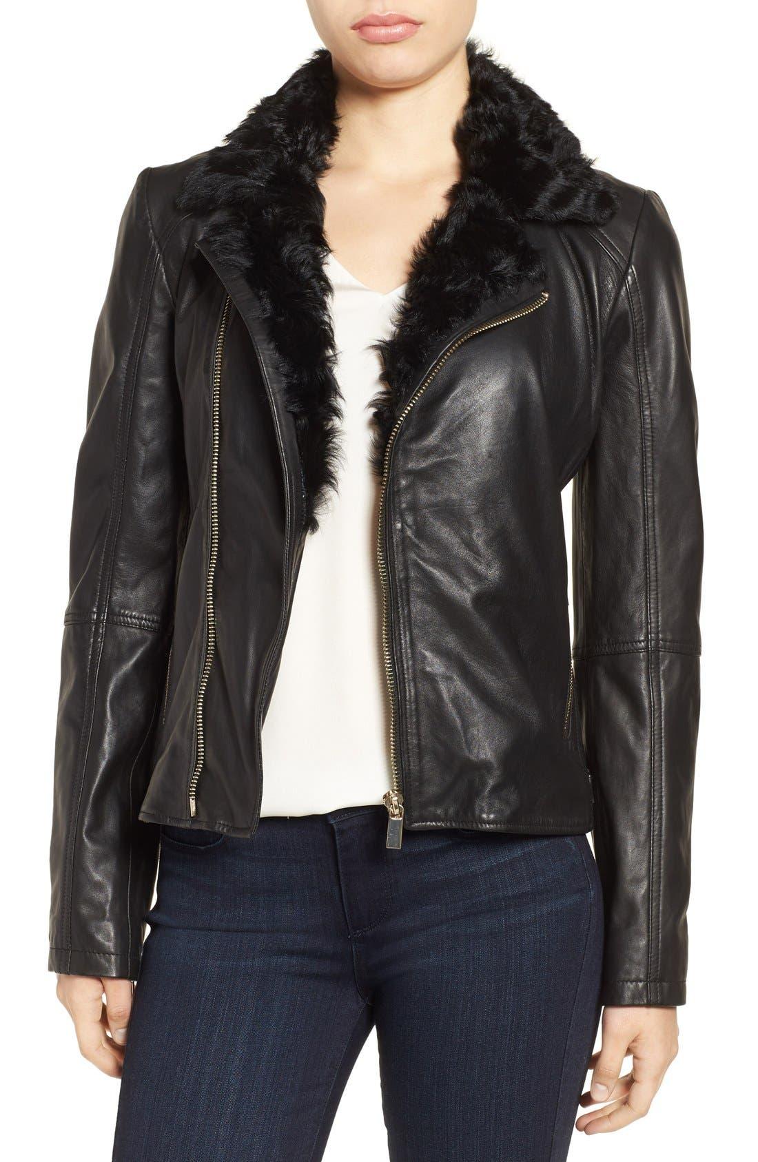 Alternate Image 1 Selected - Badgley Mischka 'Irina' Leather Moto Jacket with Genuine Shearling Collar
