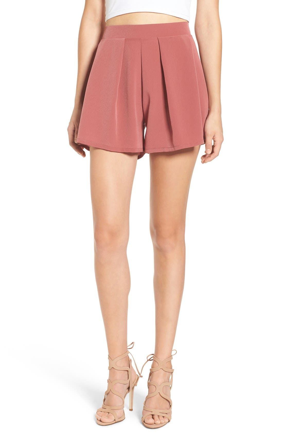 Alternate Image 1 Selected - Leith Pleated High Waist Shorts