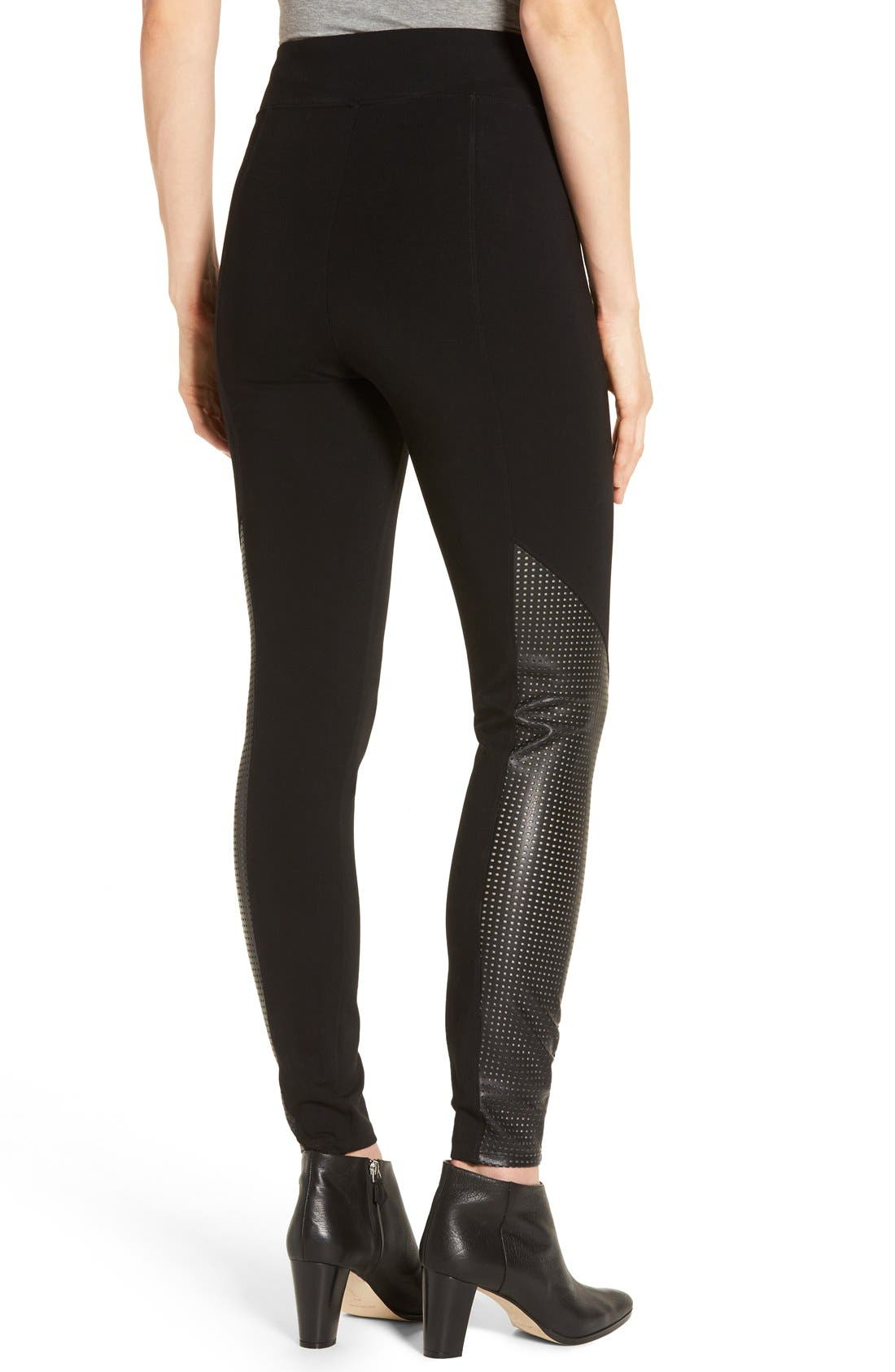 Alternate Image 2  - SPANX® High Waist Perforated Panel Leggings