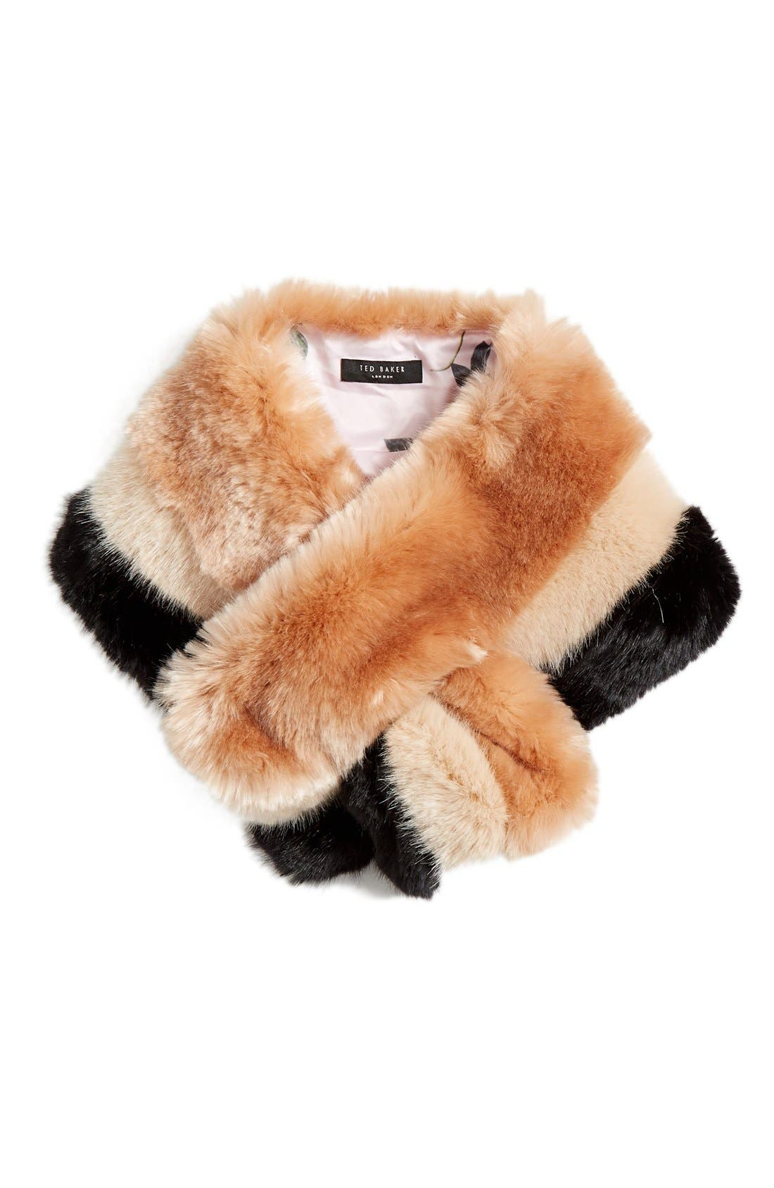 Ted Baker London Stripe Faux Fur Scarf