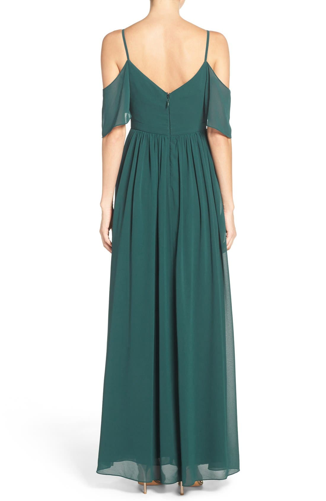 Alternate Image 2  - Lulu's Off the Shoulder Chiffon Gown