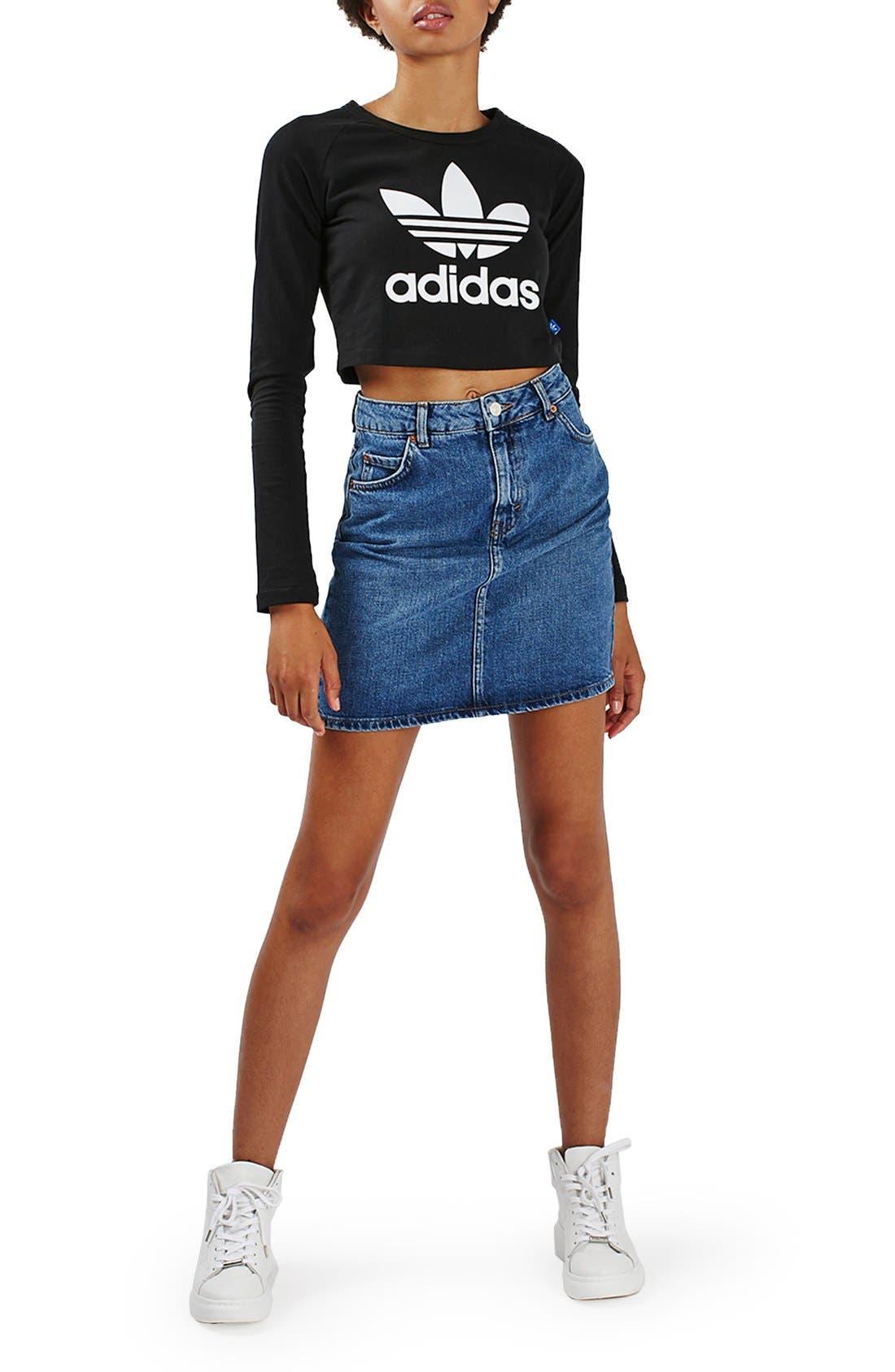 Alternate Image 2  - Topshop Moto High Rise Denim Skirt