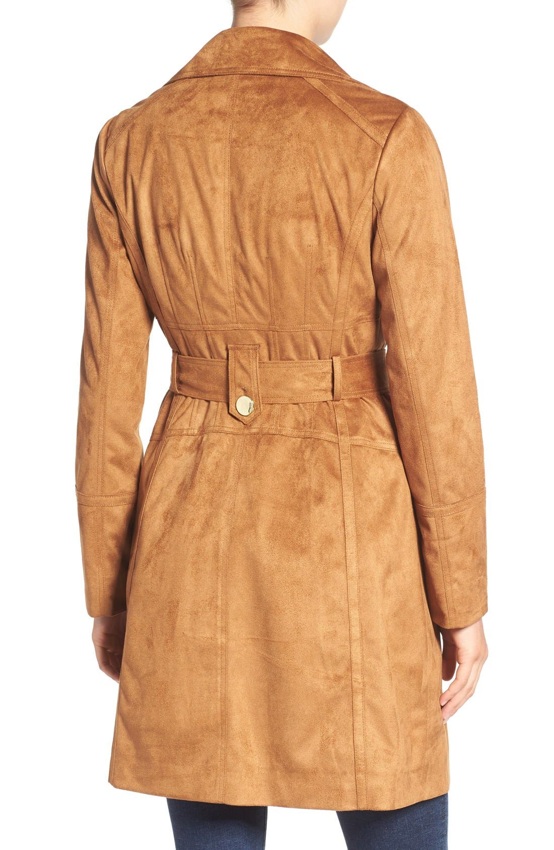 Alternate Image 2  - GUESS Faux Suede Double Breasted Trench Coat