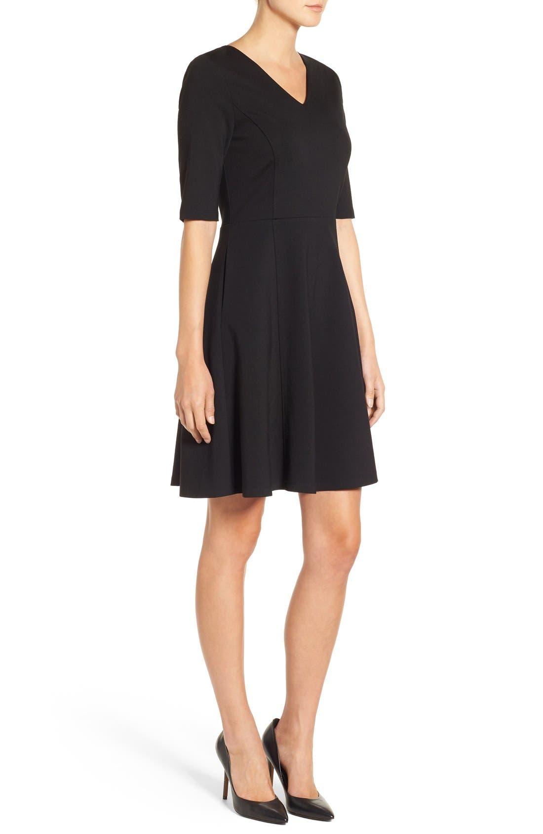 Alternate Image 3  - Halogen® Ponte Fit & Flare Dress (Regular & Petite)