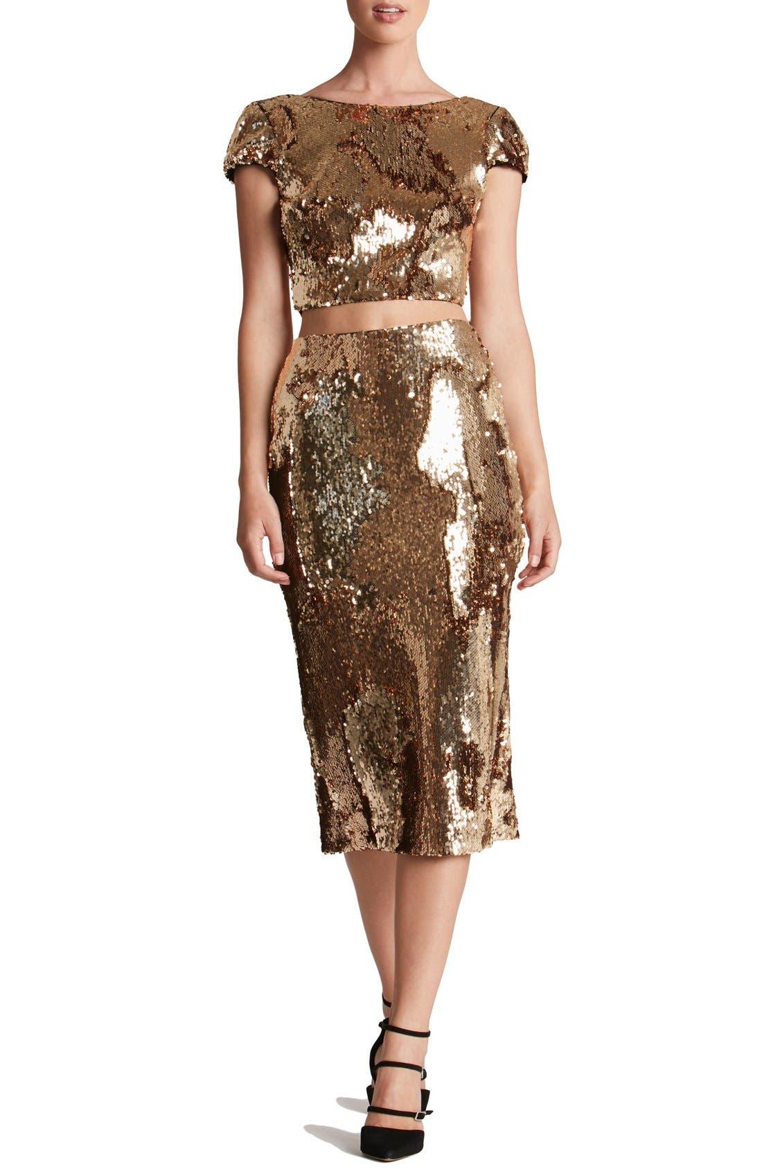 Alternate Image 5  - Dress the Population 'Sasha' Sequin Midi Skirt