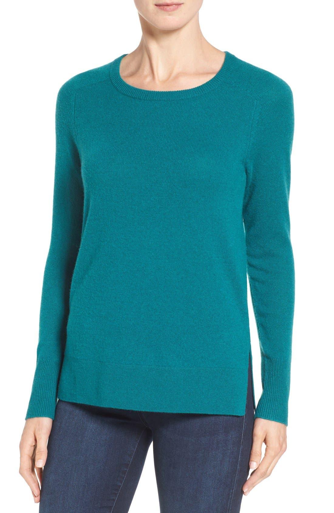 Alternate Image 1 Selected - Halogen® Crewneck Lightweight Cashmere Sweater (Regular & Petite)