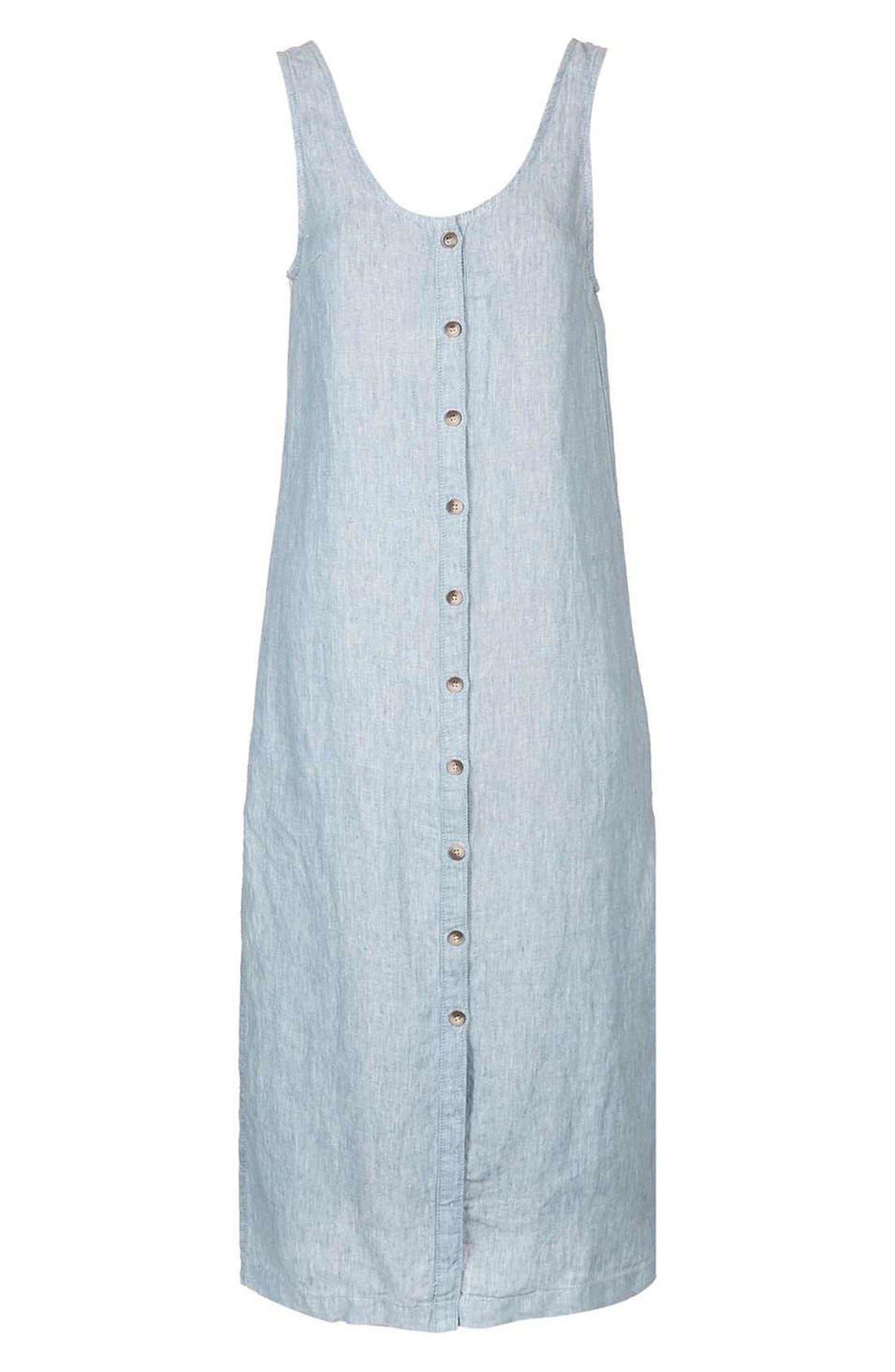 Alternate Image 4  - Topshop Button Front Linen Maxi Dress