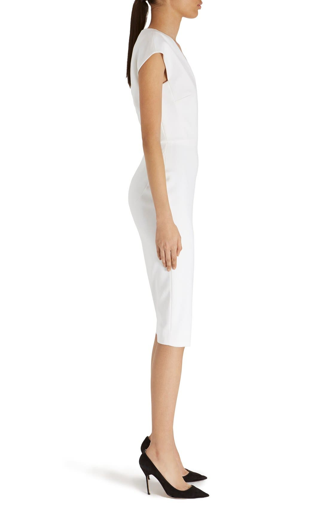 Alternate Image 4  - Victoria Beckham Cap Sleeve Cotton Blend Sheath Dress
