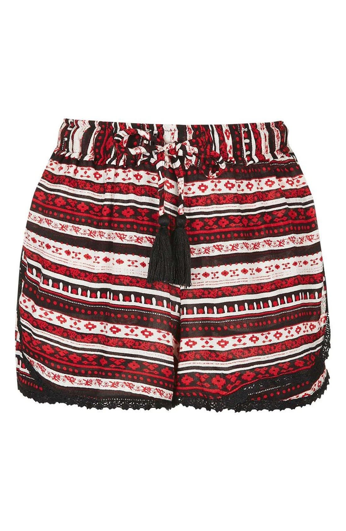Alternate Image 4  - Topshop Crochet Trim Southwest Stripe Shorts