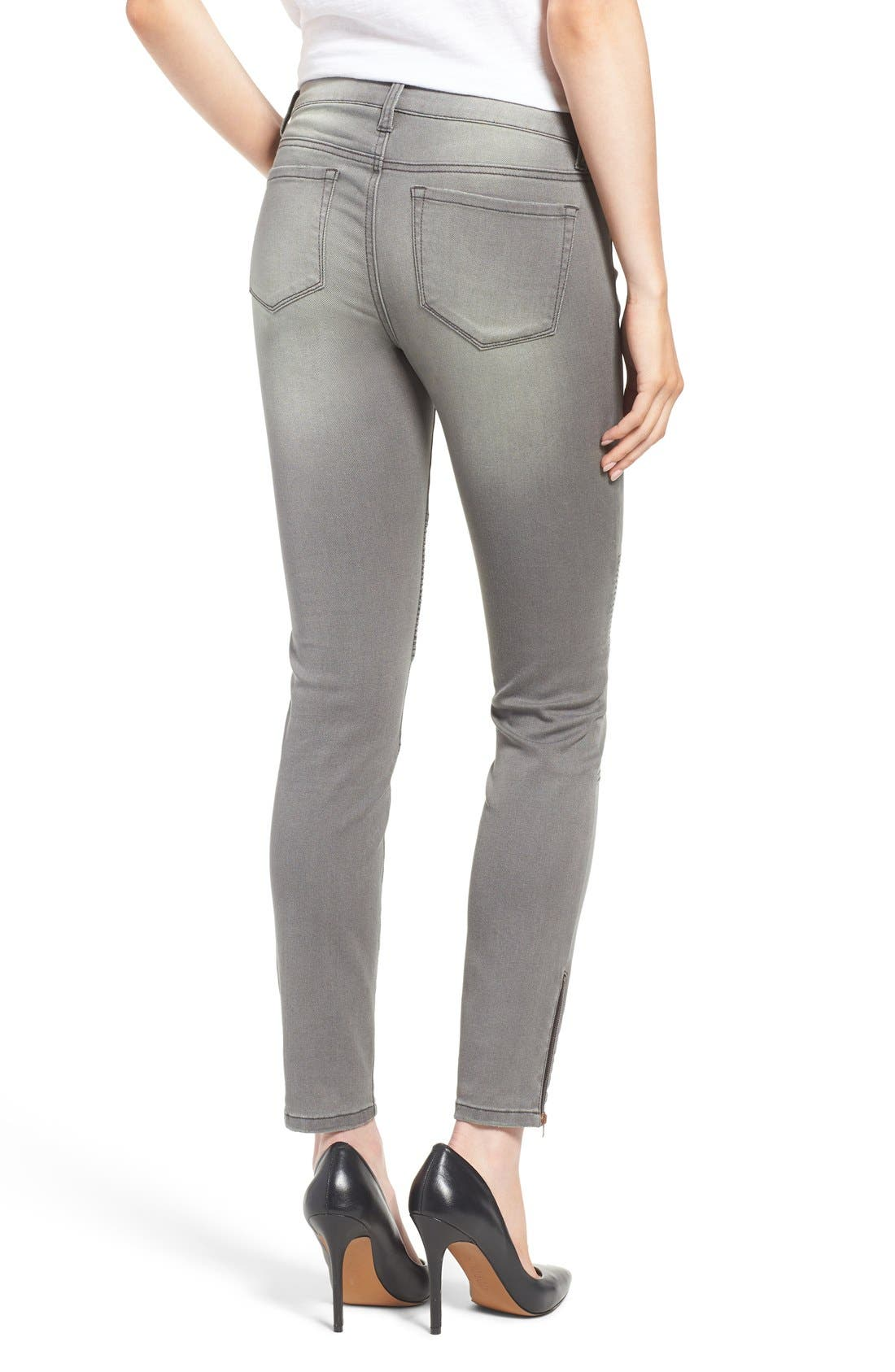 Alternate Image 2  - Dex Distressed Biker Skinny Jeans (Faded Grey)