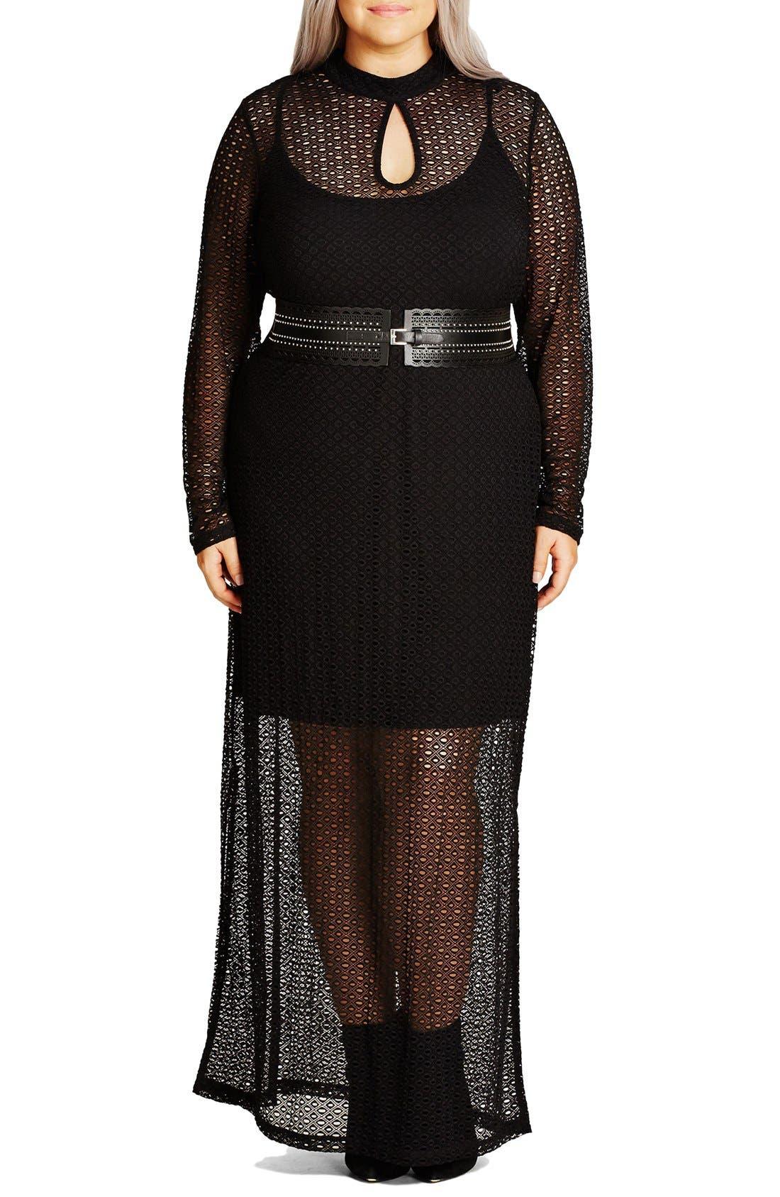 Main Image - City Chic Geo Lace Maxi Dress (Plus Size)
