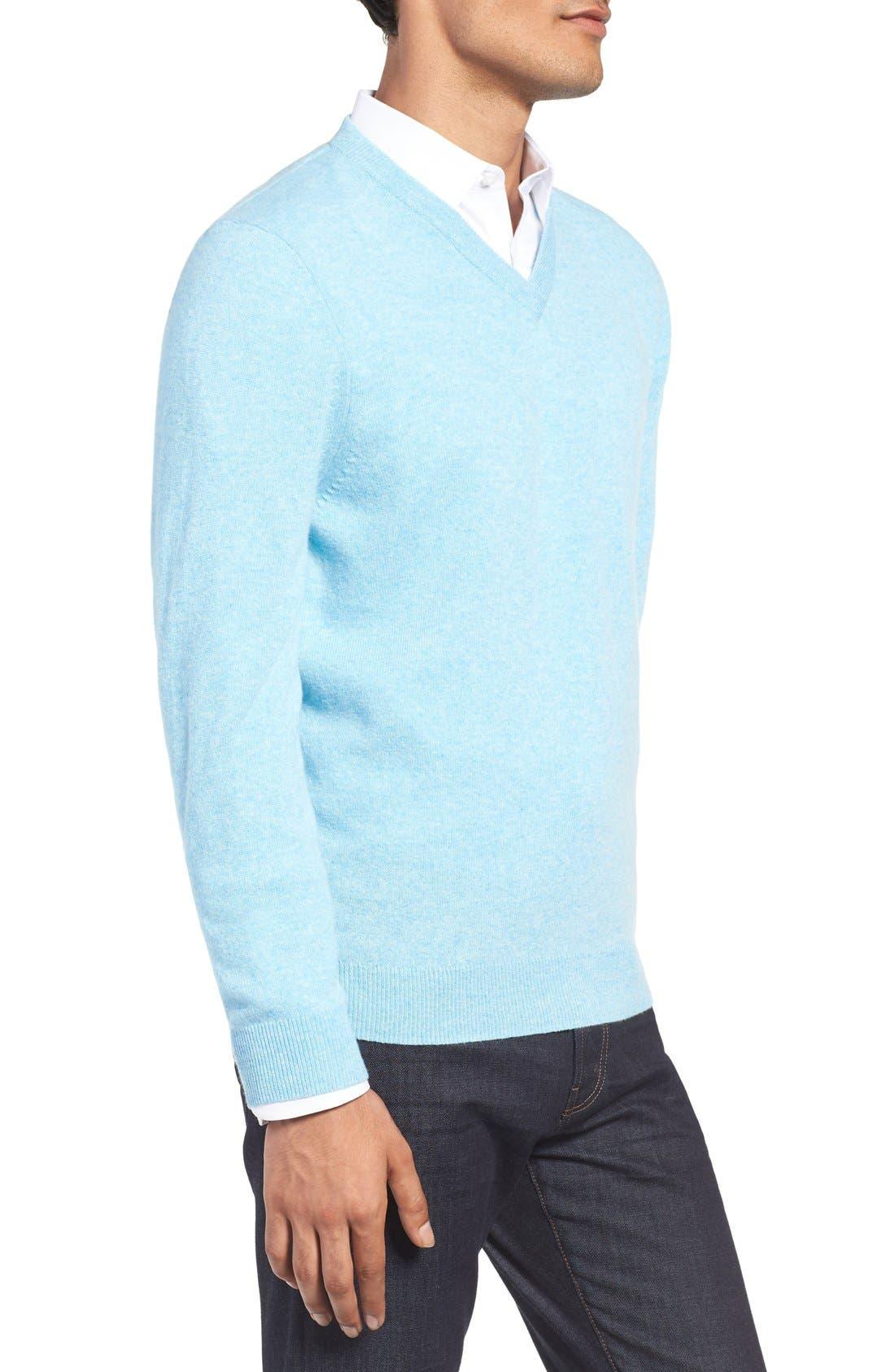Alternate Image 3  - Nordstrom Men's Shop Cashmere V-Neck Sweater (Regular & Tall)