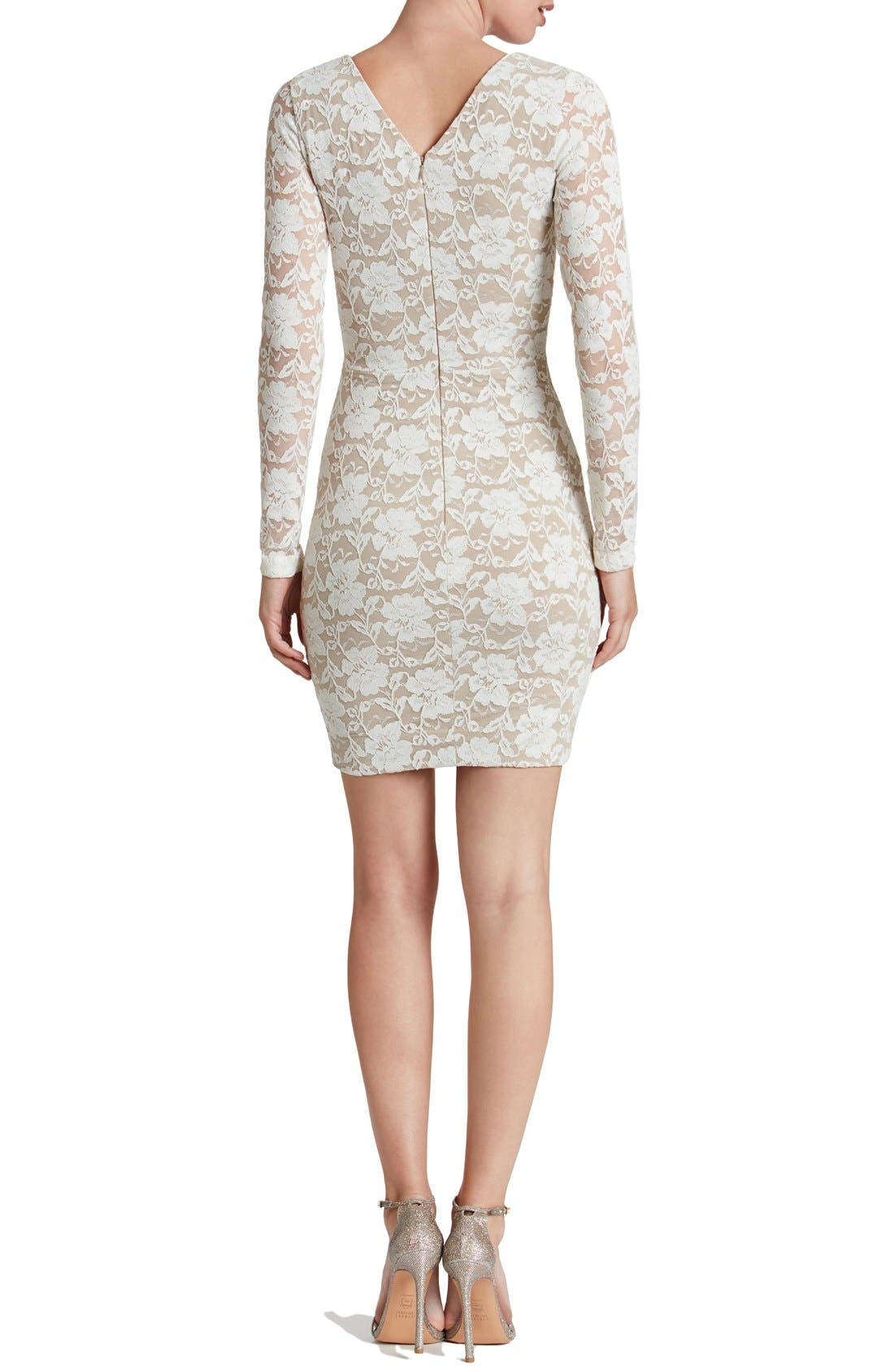 Alternate Image 2  - Dress the Population 'Erica' Plunge Neck Lace Body-Con Dress