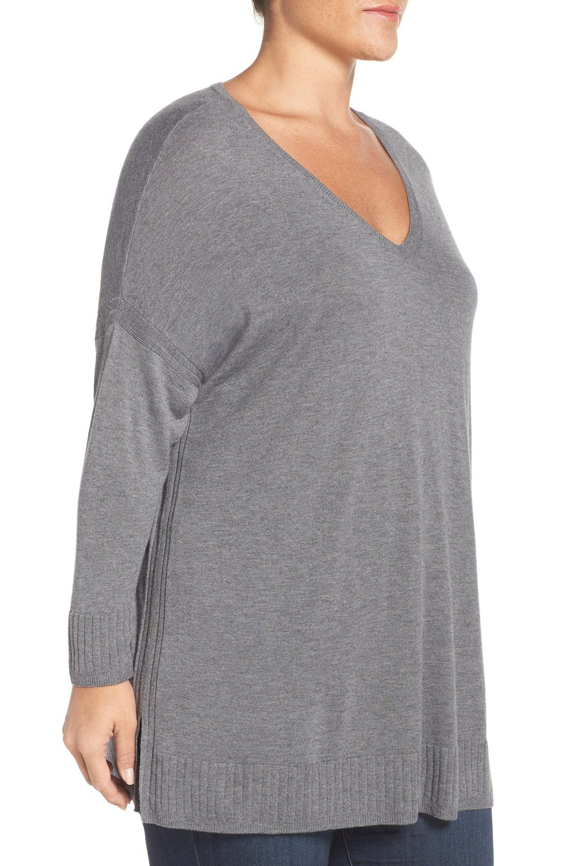 Alternate Image 3  - Sejour Dolman Sleeve V-Neck Sweater (Plus Size)