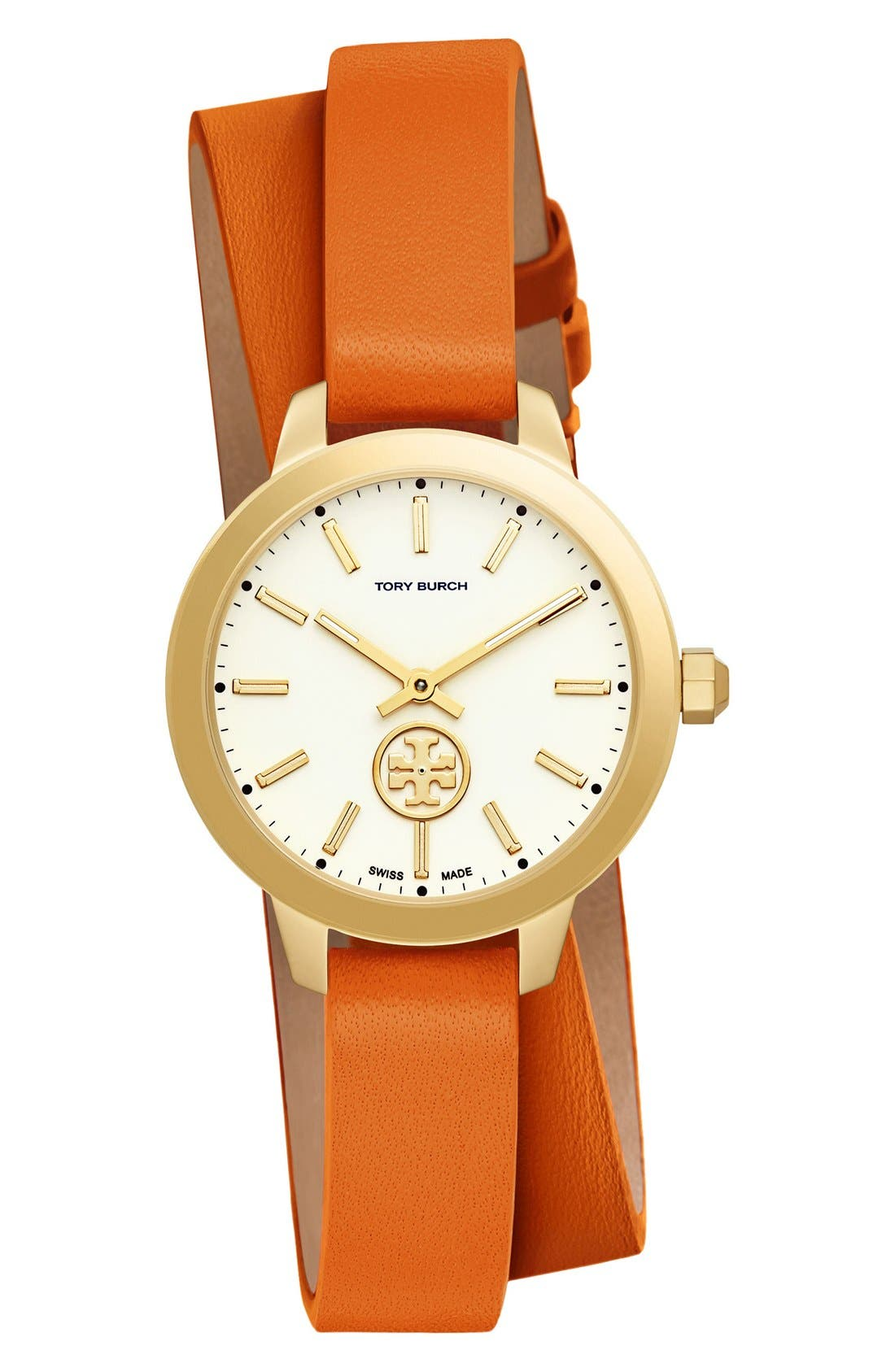 Tory Burch 'Collins' Double Wrap Leather Strap Watch, 32mm
