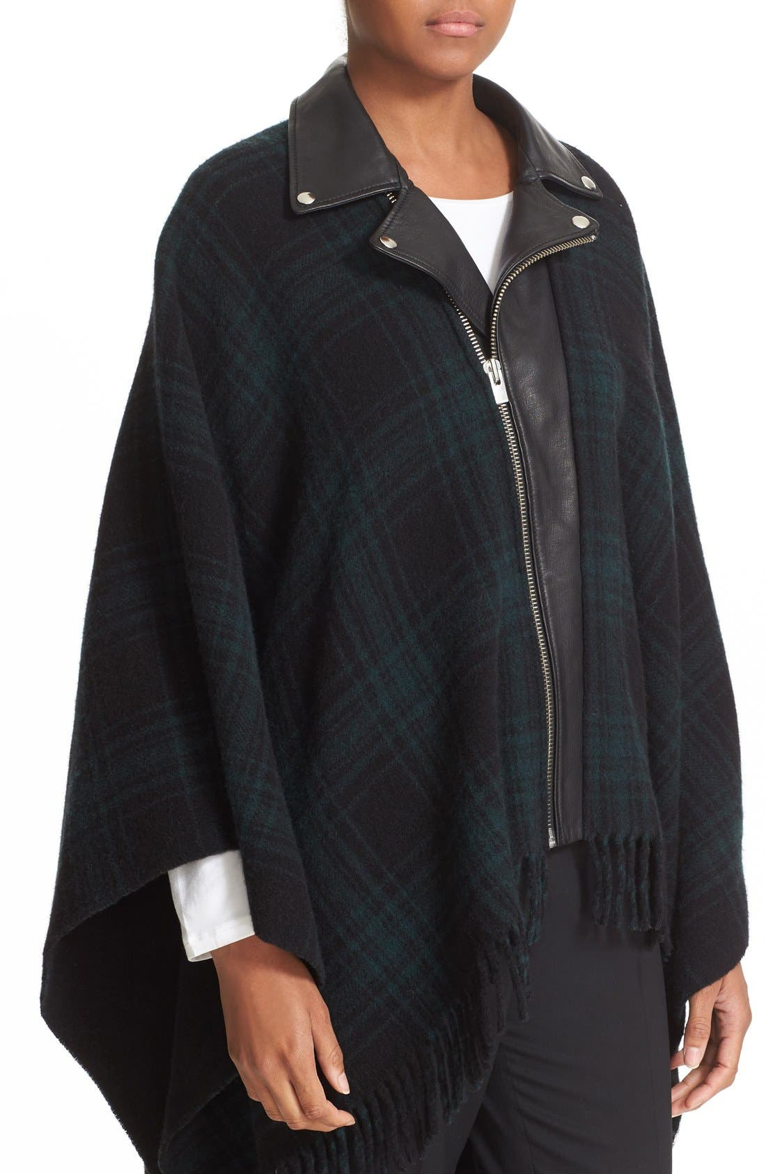 Alternate Image 4  - The Kooples Leather Collar Wool Blend Poncho