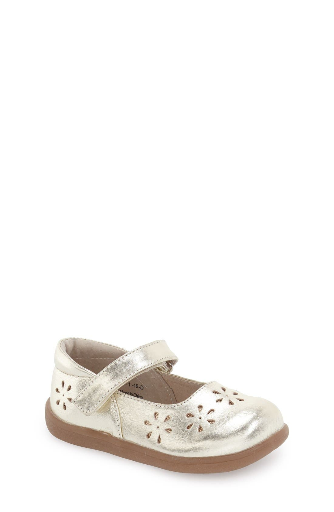 See Kai Run 'Ginger' Metallic Leather Mary Jane Flat (Toddler & Little Kid)