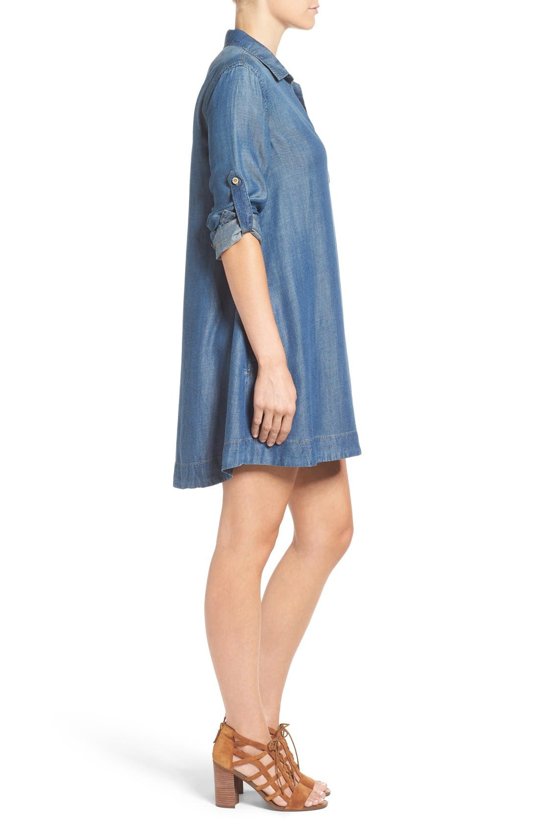 Alternate Image 3  - Side Stitch A-Line Denim Shirtdress