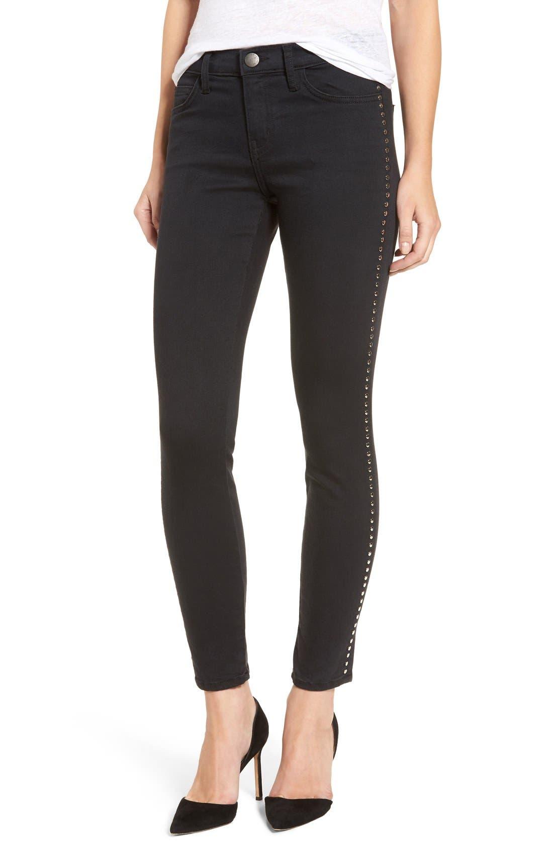 Current/Elliott 'The Stiletto' Studded Skinny Jeans (Tar)