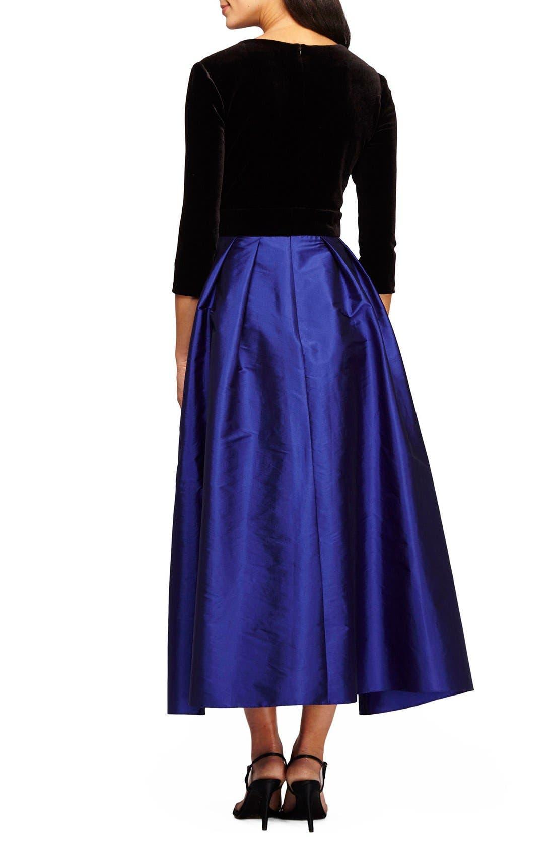 Alternate Image 2  - Alex Evenings Velvet & Taffeta Fit & Flare Dress