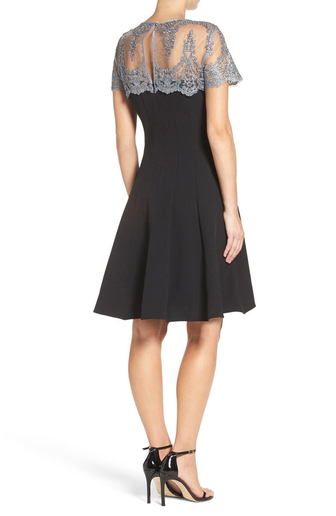 Alternate Image 2  - Chetta B Lace Yoke Fit & Flare Dress