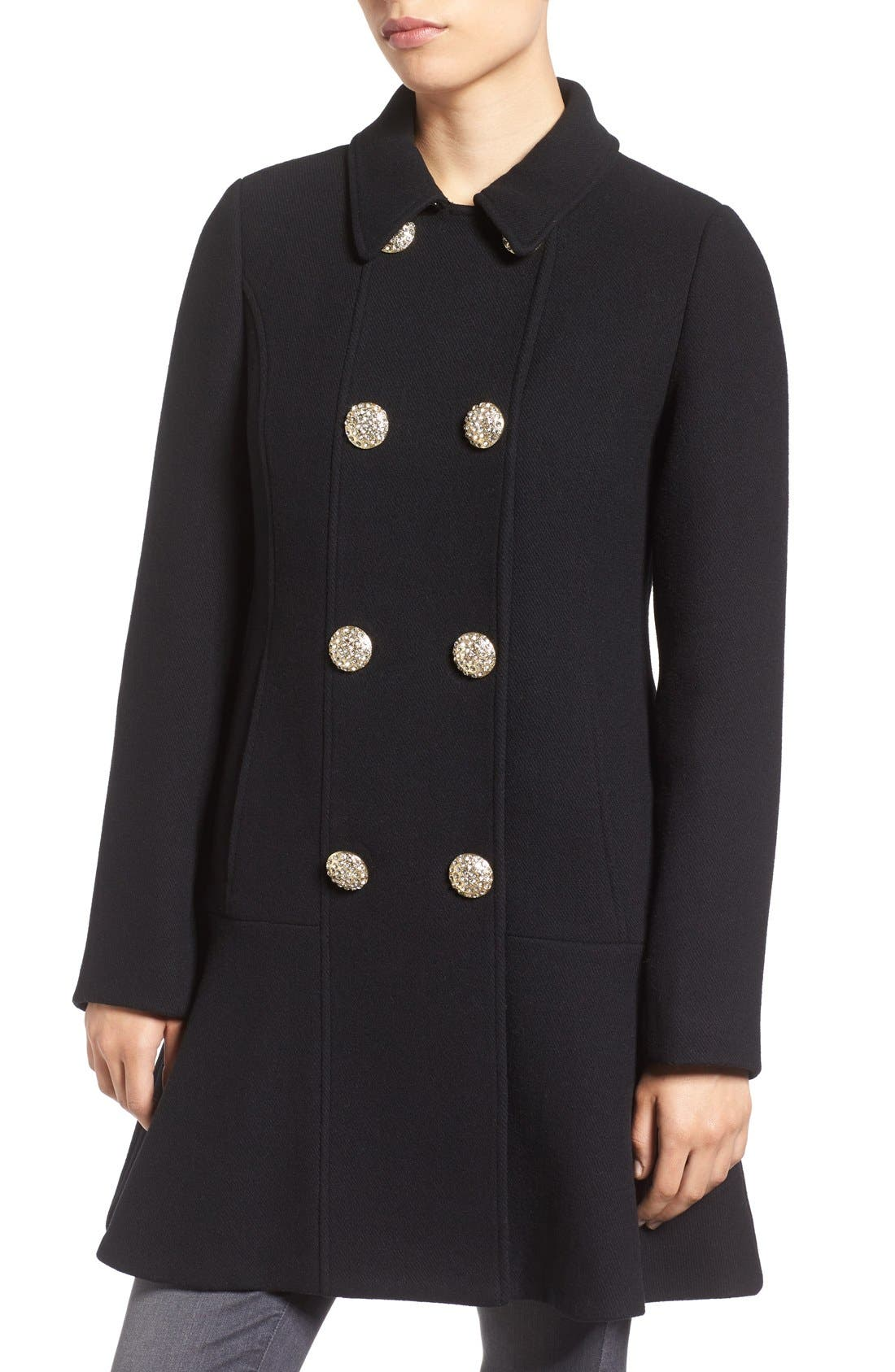 Alternate Image 4  - kate spade new york double breasted twill coat with faux fur collar