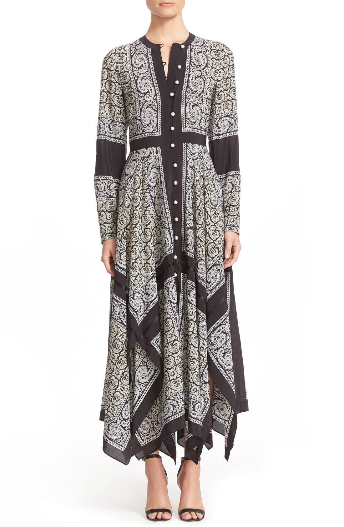 Alternate Image 1  - Altuzarra Paisley Print Handkerchief Hem Silk Dress