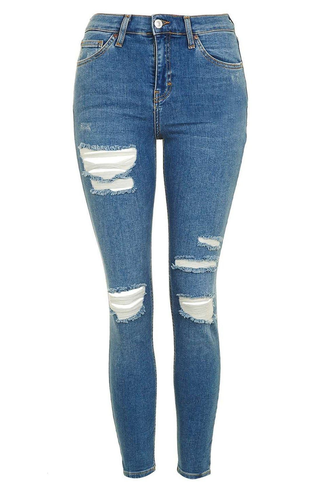 Alternate Image 4  - Topshop 'Jamie' Ripped High Rise Ankle Skinny Jeans (Petite)