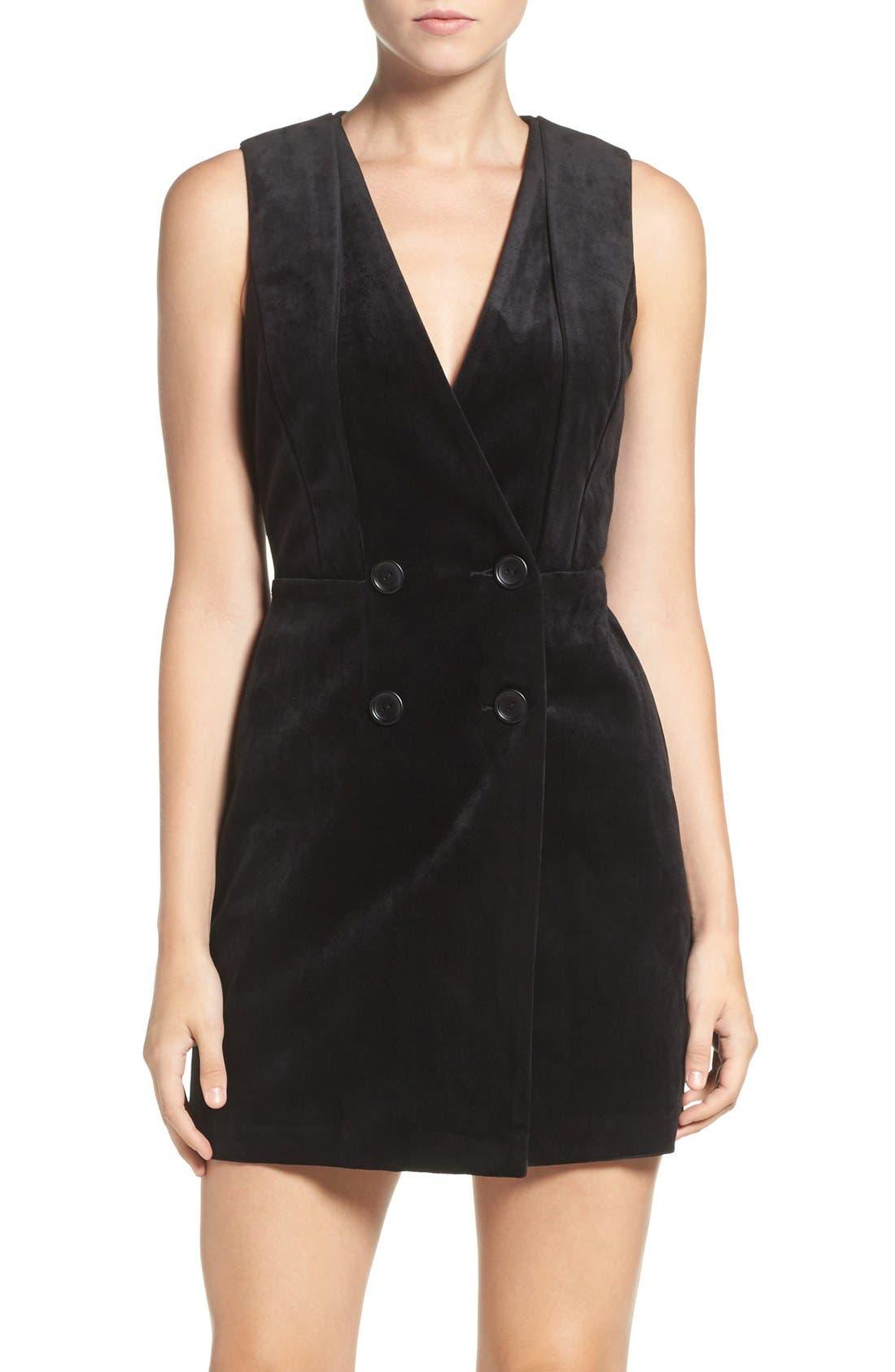 Main Image - Greylin Velvet Tuxedo Dress