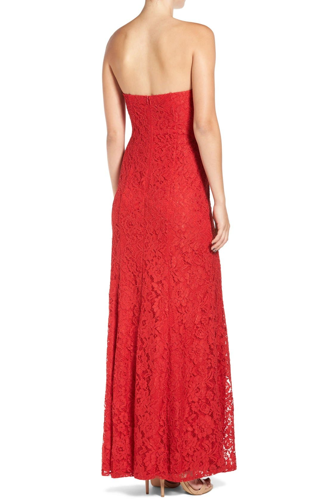 Alternate Image 2  - Sequin Hearts Strapless Lace Gown