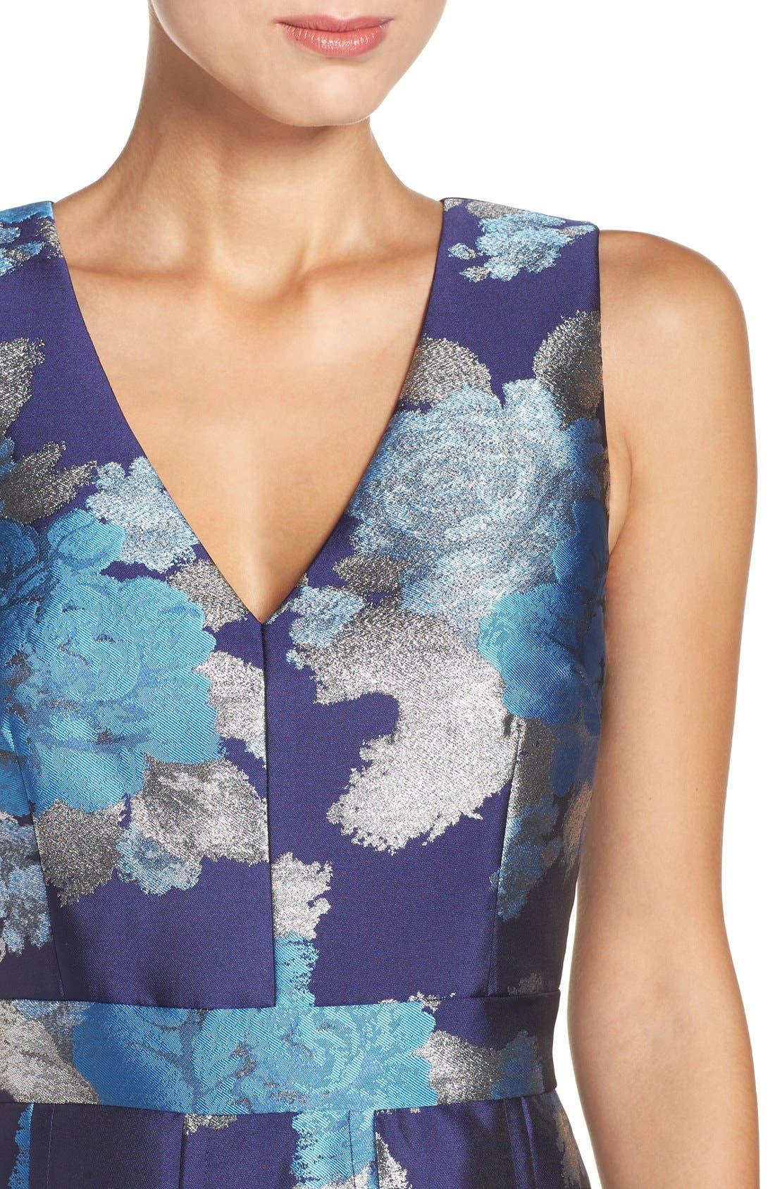 Alternate Image 5  - Eliza J Metallic Jacquard Fit & Flare Dress (Regular & Petite)