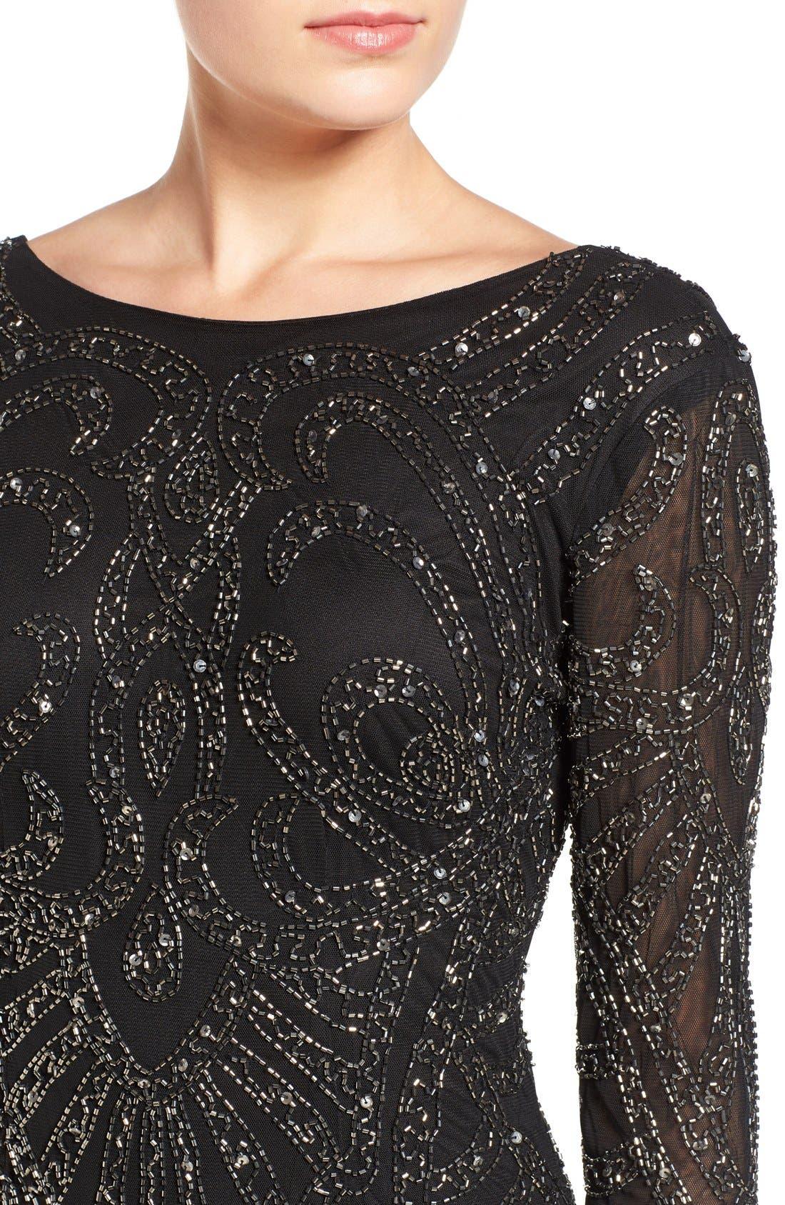 Alternate Image 4  - Lace & Beads 'Brooklyn' Embellished Long Sleeve Sheath Dress