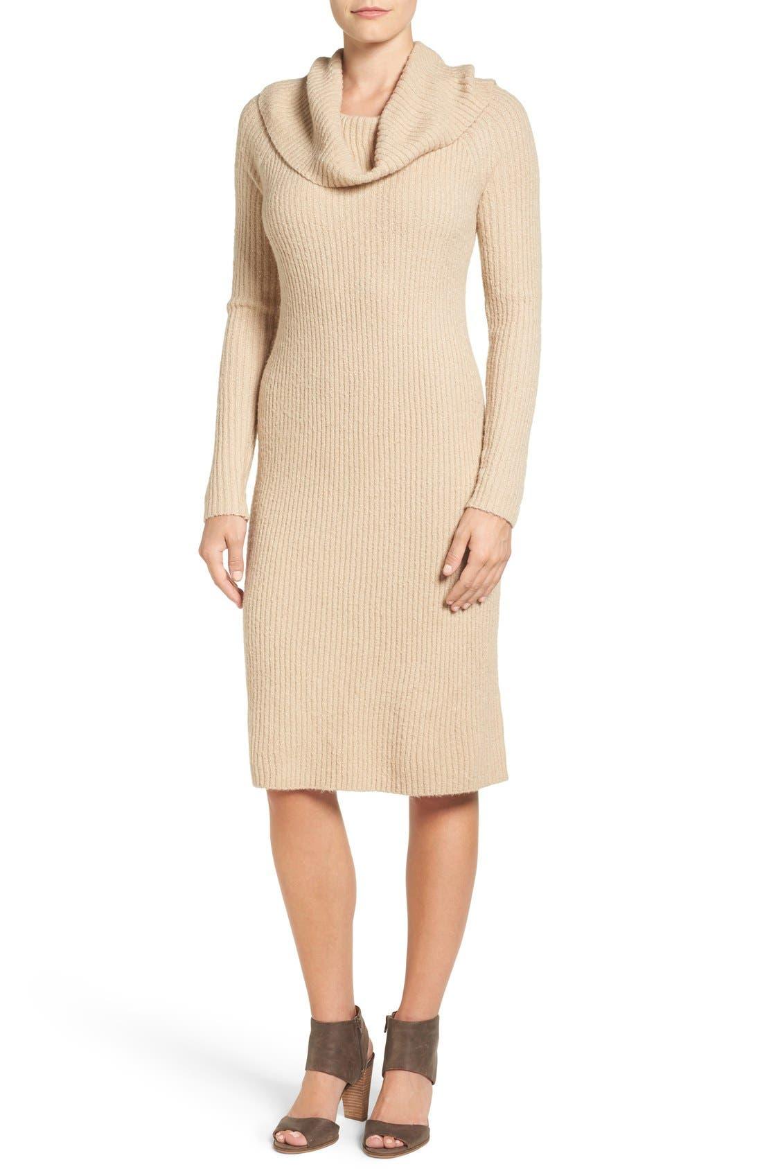 Alternate Image 1 Selected - Halogen® Cowl Neck Sweater Dress (Regular & Petite)