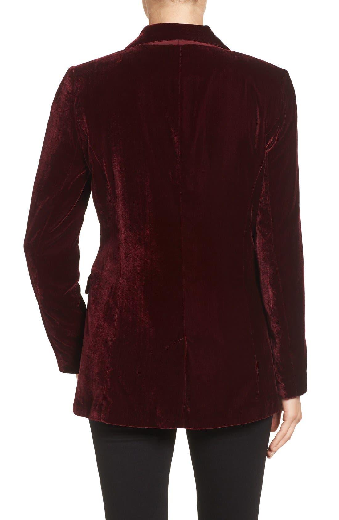 Alternate Image 2  - Halogen® Velvet Blazer (Regular & Petite)