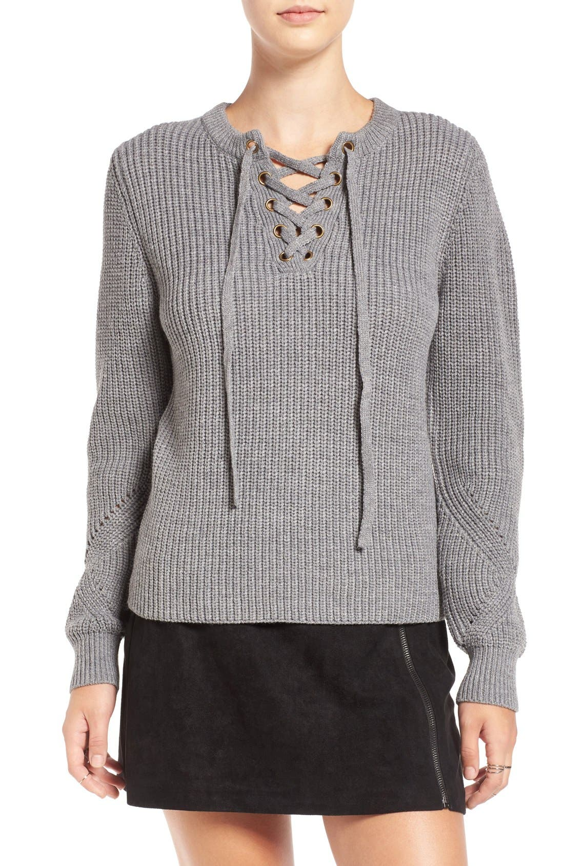 Alternate Image 1 Selected - Elodie Rib Knit Lace-Up Sweater