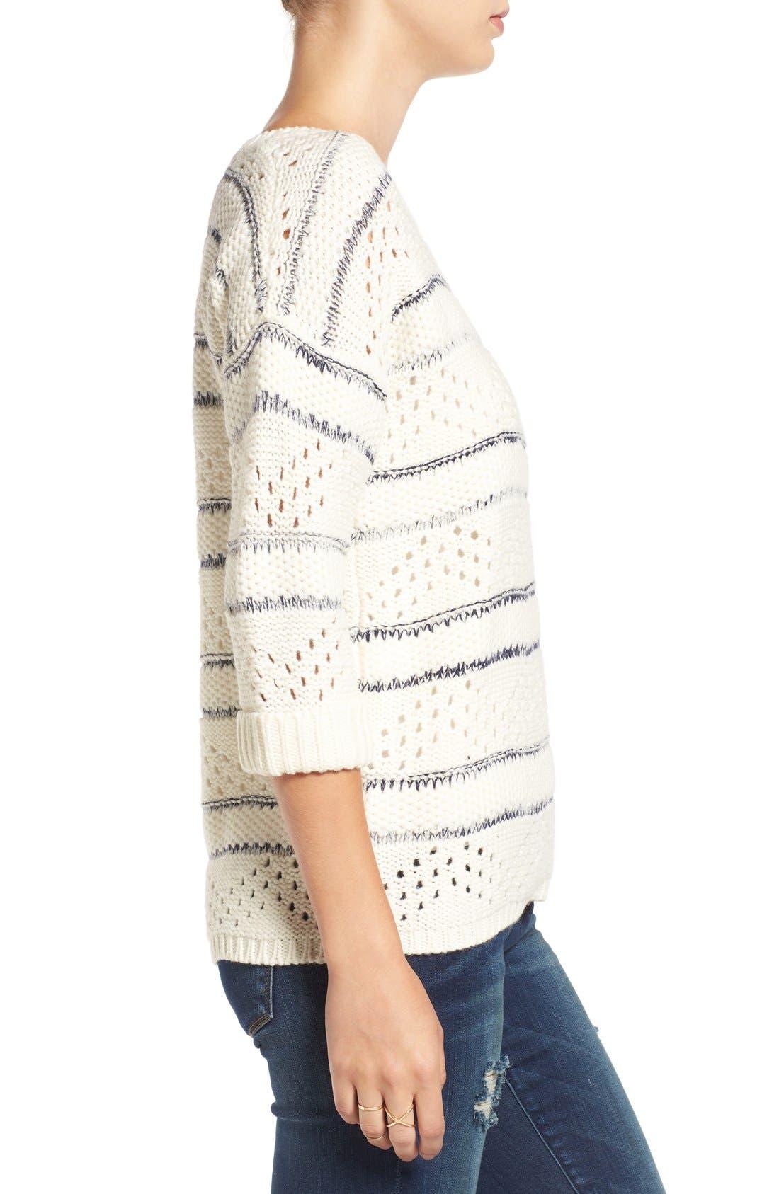 Alternate Image 3  - Elodie Stripe Pointelle Knit Sweater