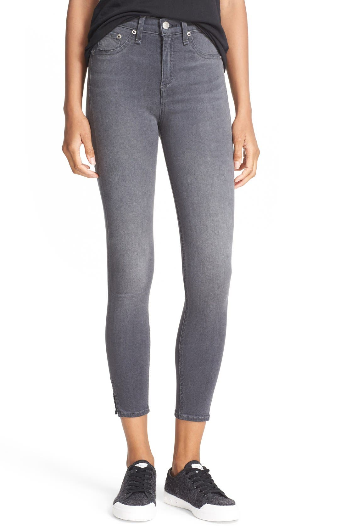 rag & bone/JEAN High Rise Capri Skinny Jeans (Black Rock)